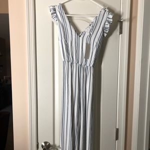New Cropped Pinstripe Jumpsuit
